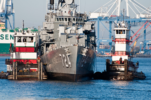 Stevens Towing Tugs in Charleston Harbor by Patriot's Point